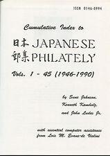 Cumulative Index to Japanese Philately Vols 1- 45 (1946-1990) Book Johnson