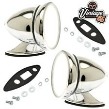 Kit Car Hotrod Retro Bullet Style Chrome Adjustable Flat Glass Wing Door Mirrors
