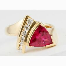 14k Yellow Gold Trillion Triangle Pink Rubellite & Round Diamond Ring Band