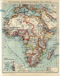 1912 AFRICA MADAGASCAR POLITICAL MAP Antique Map dated