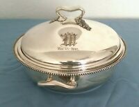 antique nickel  silver Barbour Silver Co. covered dish glass  insert may 23 1902