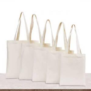 Creamy White Cotton Canvas Gift Bag Plain Shopping Shoulder Tote Shopper Bags