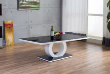 GIOVANI Designer Halo Black White High Gloss Glass Coffee Table Modern Furniture