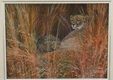 Steven Volpe 1985 Cheetah & Cubs in Long Grass Original Painting