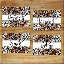 Cheetah Leopard Bathroom Wall Art Print Bath Decor Refresh Relax Soak Unwind 5x7