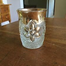 Pressed Glass Tumbler With Gold- Daisy