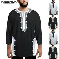 Fashion African Dashiki Men's V Neck T-shirt Hippy Formal Ethnic Tops Casual UK