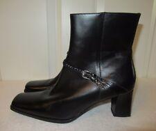 Unisa Lasher Black Braided Leather Western Square Toe Ankle Boots 8.5 EUC