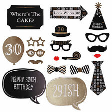 20pcs 30th Birthday Black Gold Birthday Party Photo Booth Props DIY Photography