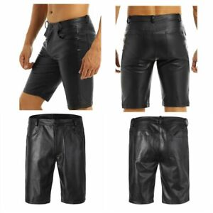 Short en Faux Cuir Homme Charme Midi-Pantalon Brillant Pantalon Court Clubwear