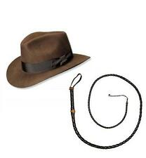 BROWN INDIANA JONES HAT & WHIP WESTERN FEDORA EXPLORERS HALLOWEEN FANCY DRESS