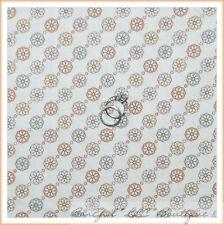 BonEful Fabric FQ Cotton Quilt Cream Blue Brown Orange Peach S Flower Dot STRIPE
