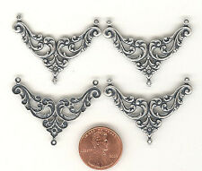 4 SILVER OX FLORAL NOUVEAU 3 LOOP STAMPINGS 38mm #ST147