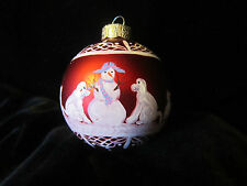 "1 - 2-1/2"" Shiny Red Satin Ball Ornament Painted w/Snowman and Dog's & Cat's"