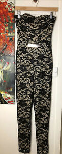 Lipsy Size 10 Jumpsuit  Black Lace Strapless NWT
