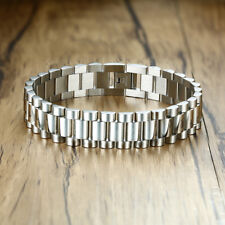 Fashion Silver Men Chunky Cuban Byzantine Bracelet Chain Link Stainless Steel