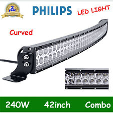 CURVED 42INCH 240W LED WORK LIGHT BAR SPOT FLOOD TRACTOR OFF ROAD BOAT PK 40/44""