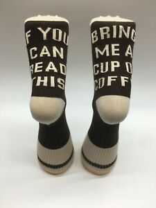 If You Can Read This Bring Me A Coffee Socks Mens Womens Unisex Novelty Brown