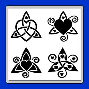 12 X 12 (4 in 1) Triskeles/Triple Spirals w Hearts STENCIL Wiccan/Celtic Knot