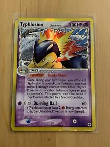 Typhlosion Delta Species Holo 12/101 EX Dragon Frontiers Damaged Pokemon Card
