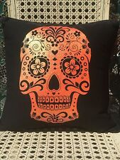 NEW STRATFORD HOME DAY OF THE DEAD SKULL HALLOWEEN THROW PILLOW 17x17 Piped Edge