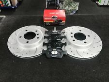 BMW 318i 325i 320i 323 E30 FRONT CROSS DRILLED GROOVED BRAKE DISC MINTEX PAD