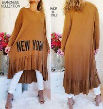 NEU 38 40 42 44 Long Pullover NEW YORK Print Sweatshirt Kleid Braun M-XXL Italy