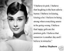 """Audrey Hepburn """" I believe in pink"""" Inspiring Quote 8 x 10 Photo Picture"""
