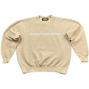 Vintage 90s HARLEY DAVIDSON Sherpa Crewneck Sweatshirt KHAKI sz LARGE