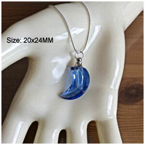 Crystal Ashes Urn Necklace - Blue Moon Pendant Cremation Jewellery Keepsake