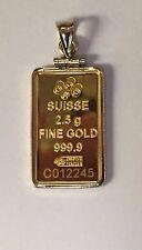 24k Fine Gold Credit Suisse 2.5gr Bullion Ingot 14k Framed Charm Pendant