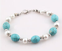 HORSE & WESTERN LADIES JEWELLERY JEWELRY TURQUOISE & PEARLS BRACELET SILVER