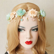 Boho Bridal Flower Crown White Lace Rose Hair Garland Wedding Headband Headpiece