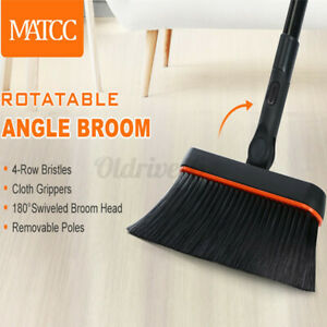 46''Angle Broom Detachable Long Handle 180° Rotating Head Sweeping Floor Clean /