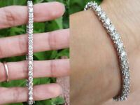 "8.00 CT Round Diamond Womens Tennis 7.25"" Bracelet 14K Solid White Gold"