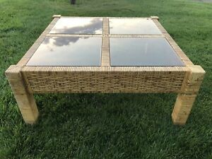 Woven Wicker Bamboo Rattan Square Coffee Table Smoke Glass Mid Century Modern