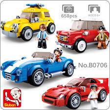 Sluban B0706 Model Bricks Racing Car Taxi Wagon Vehicle Building Blocks Toy 4pcs