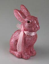 Hase Osterhase beflockt pink rosa mit Glitter ca. 20cm groß Osterdekoration