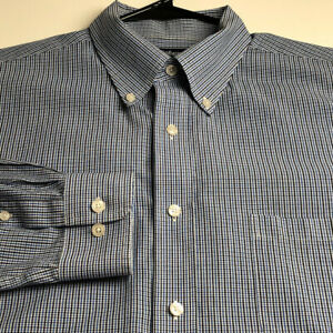 Croft & Barrow Mens Long Sleeve Button Up Shirt Large L Blue White Plaid Classic