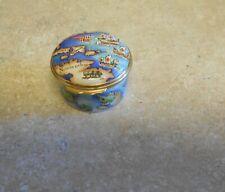 Halcyon Days By Tiffany Antique World Map Round Trinket Box