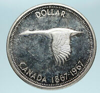 1967 CANADA Confederation Founding OLD Goose Genuine Silver Dollar Coin i83264