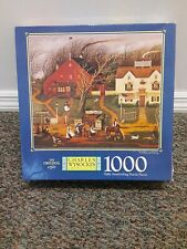 Charles Wysocki 1000 Piece Jigsaw Puzzle READING AND RIDING, Complete!!