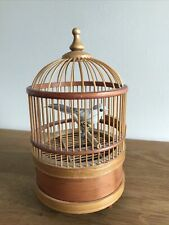 More details for vintage bamboo automaton autotron feathered bird in cage whistles chirps moves