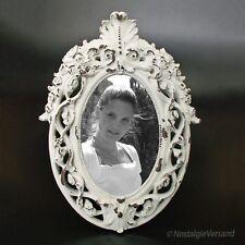 Barock Bilderrahmen Fotorahmen Weiß Grau Oval Rokoko Shabby Vintage Look 10x15