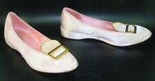Carol Brent 7.5 M Pink Vtg Satin Slippers Gold Buckle Mid Mod Lucy Pin Up VLV