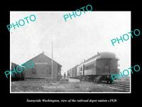 OLD LARGE HISTORIC PHOTO OF SUNNYSIDE WASHINGTON, THE RAILROAD DEPOT c1920