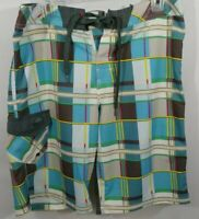 Maui and Sons Brown Blue White Green Swim Suit Board Shorts Size SZ 32