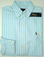 NWT $89 Polo Ralph Lauren LS Striped Oxford Shirt Mens Size S L XL XXL Aqua Blue