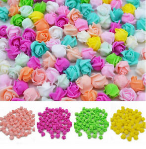 4cm100PCS mini Roses Artificial Flower Wedding Bride Bouquet Party Decor DIY