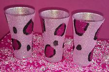 3 Rosa Leopardo Vasos de Chupito vino Brillo presente Boda Cumpleaños Navidad